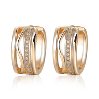 18k Gold Plated Fashion Crystal Jewelry Wedding Engagement Huggie Earring Women Gift