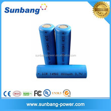 high quality rechargeable 3.7v 800mah aa 14500 lithium battery for aa battery powered mp3 player