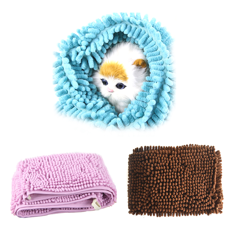 Strong Absorption Fast Drying Pet Bath Dry Towels Soft Chenille Dog Microfibre Towel with Hand Pockets