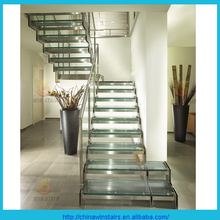 Home stepped spine glass stairs with glass step and glass railing and wood handrail
