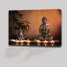Religion Decor LED Light Wall Canvas Art Painting Custom Print Buddha Picture