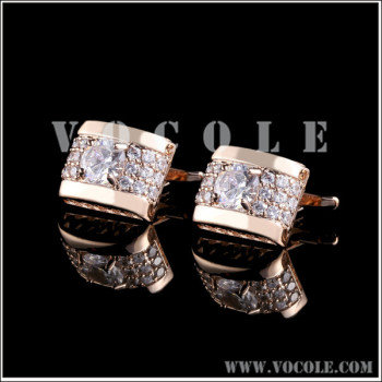 Shiny Crystal Diamonds New Design Rose Gold Square Cufflink