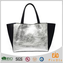 S796-B2941 Fashion Europe design tote bag women silver metallic leather handbag with black leather