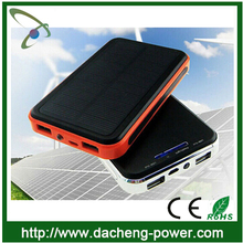 Factory wholesale 10000mAH solar cellphone charger with dual usb port