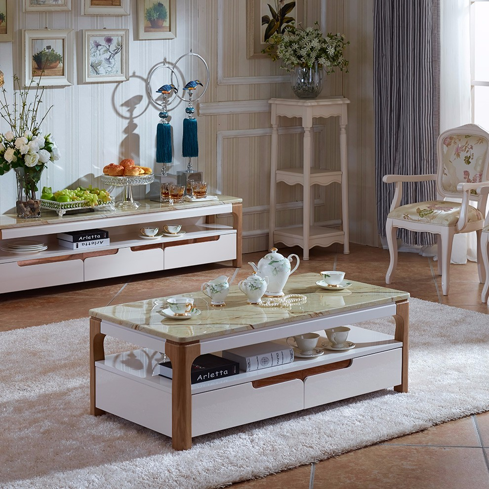 Royal furniture luxury coffee table wooden teapoy designs with marble top