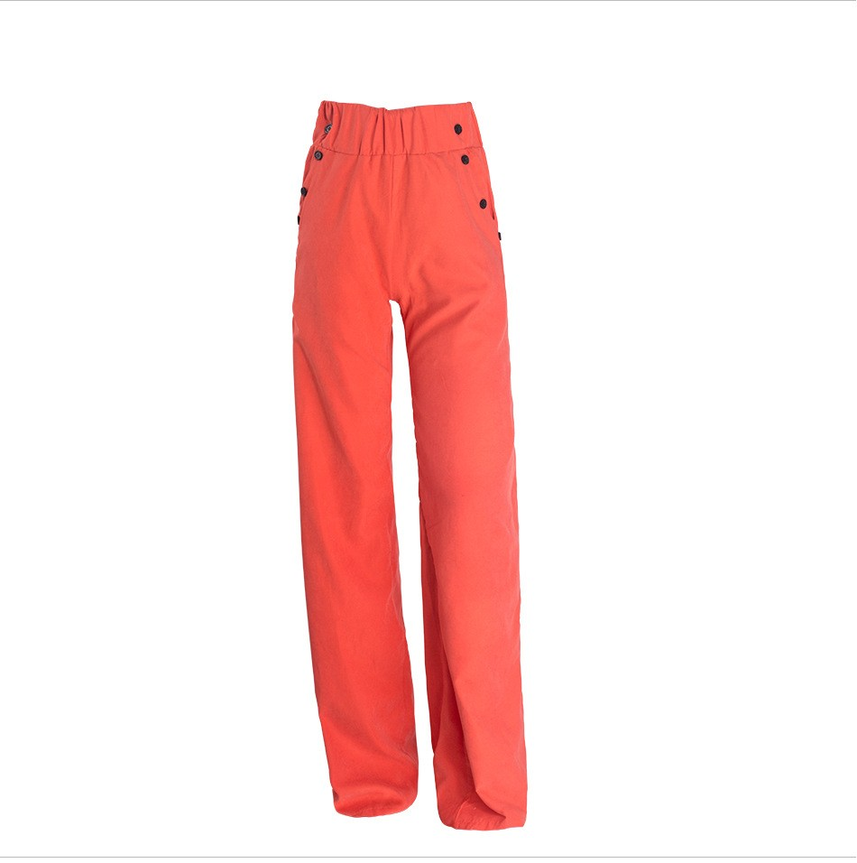 Hot sale Women's casual high waist vintage wide slim trousers buttons pants