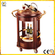for hotel restaurant Superior hotel car round wood and stainless steel wine service trolley