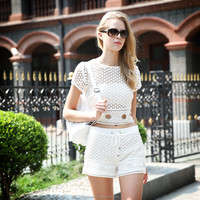 2016 summer girls cotton white lace top with gold metal zipper back
