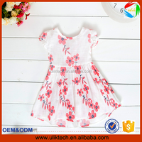 2016 new design baby girls dress hot selling in summer dress lovely kids clothing cotton jute flower dress (UK-02291)