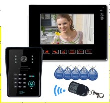 "free shipping 9"" LCD touch key video door phone interom system with RFID Keyfobs IR Camera Code Keypad Wireless Remote control"
