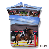 Equestrian Theme Show Jumping Horse and Rider 3d Hd digital Bedding set