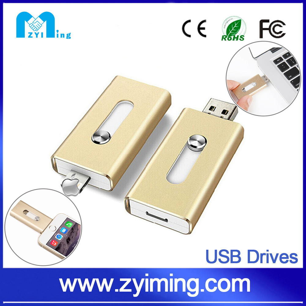 Zyiming wholesale usb pendrive128gb otg for ios customized logo china novelties
