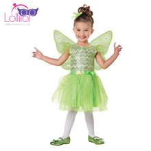 Carnival party cosplay fancy dress green fairy costume children with wing