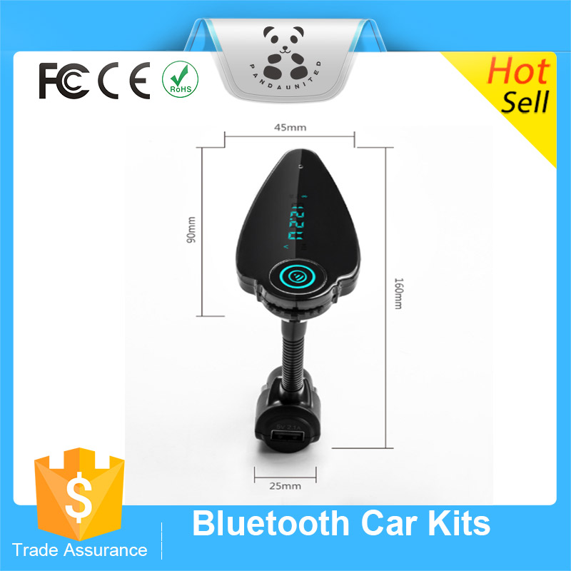 2016 China Best Sale Bluetooth Car Kit Handsfree FM Transmitter Support A2DP TF Card Music player T6
