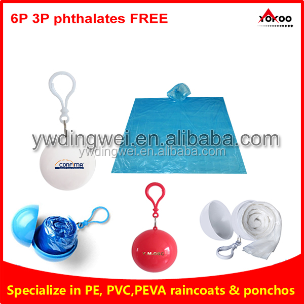 PE Disposable Rain Poncho with keychain Ball for promotion