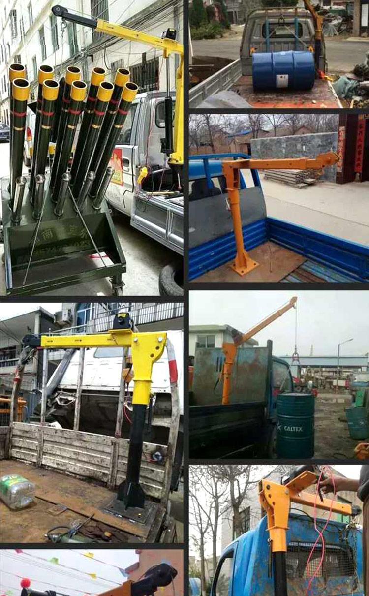 500kg 12v 24v mini truck crane with electric winch for car pickup