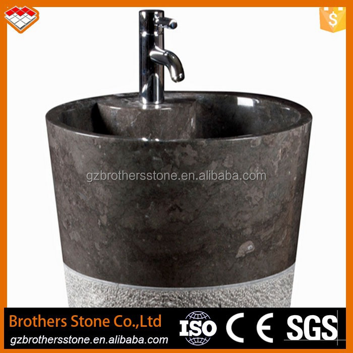 round circular black natural stone wash basin