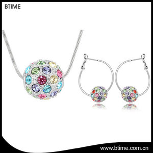 Colorful ball pendant necklace earrings for girls wedding jewelry set