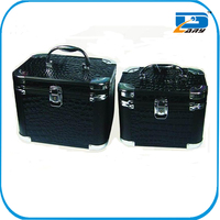 Black aluminum beauty cosmetic case and box makeup kit