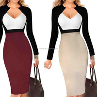 ladies wear to work dress Hand Work Dress Women's Chic V-neck Color-Blocked Wear to Work Sheath Dress
