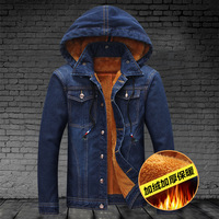Winter Men Hooded Denim Jacket Man Outdoors Casual Jeans Jackets And Coats M/XL/2XL/3XL