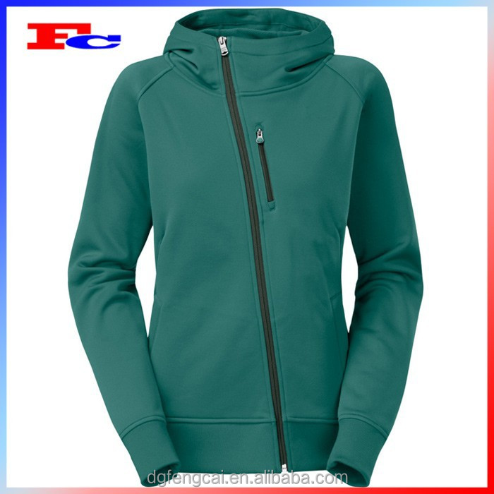 Wholesale polyester spandex embroidered custom women side zipper hoodie