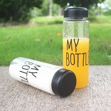 Plastic Fashion Cheap Sport My Bottle,500ml smile happy My Bottle Summer Style Juice Water Bottle