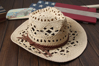Cheap Bulk Hollow Out Natural Grass Straw Cowboy Hats