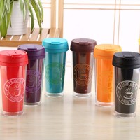 Bulk colorful double wall plastic coffee mug