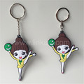 hot sale custom promotion soft pvc keychains cartoon girl keyring rubber