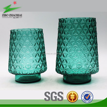 Splendid uneven patterned jade green lamp glass vase with round base