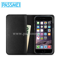 Leather Wallet Case For iPhone6 Plus6 Plus Black Genuine leather Wallet