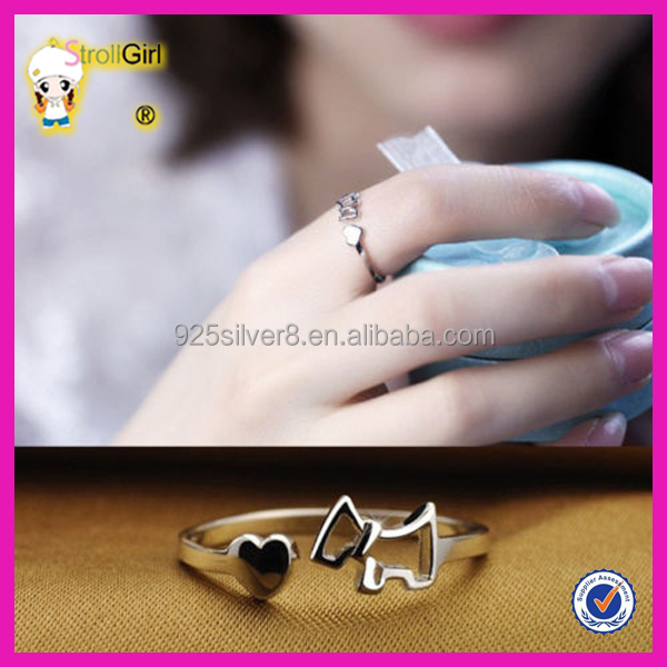 Beautiful italian silver lady ring finger opening adjustable fancy ring lover dog ring
