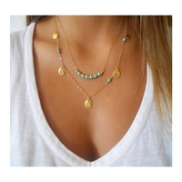 Alibaba china online shopping gold jewelry necklace double-layer sequins turquoise gemstone beaded necklace for girl