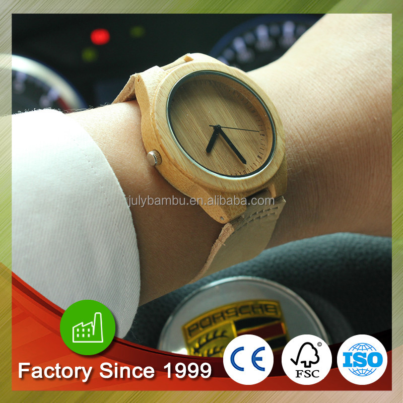 Fashion Bamboo watch men Genuine Leather Wristbands with wooden case Retail/ Wholesale