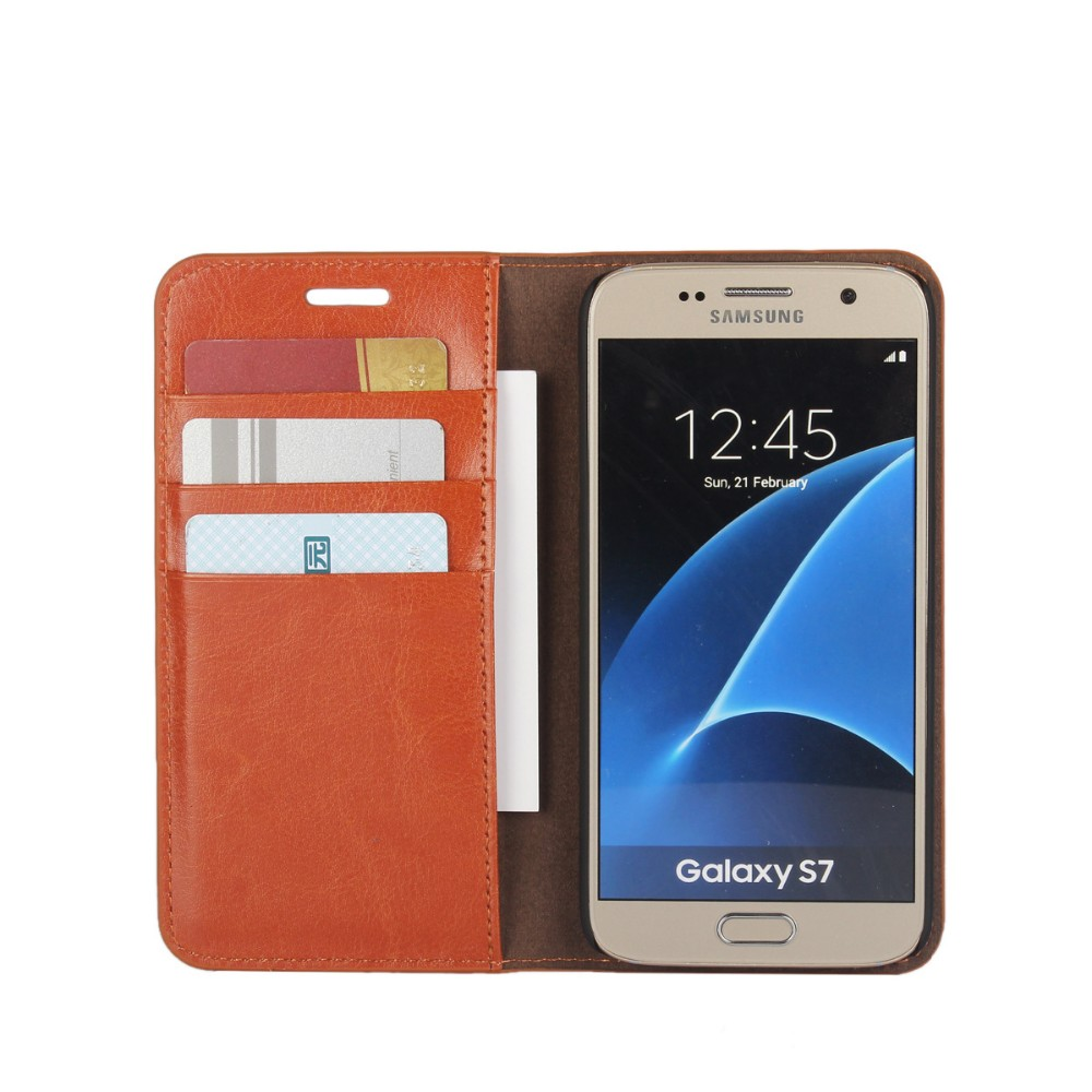 Factory New Arrival For Samsung Galaxy S7 Leather Case With Card Slot