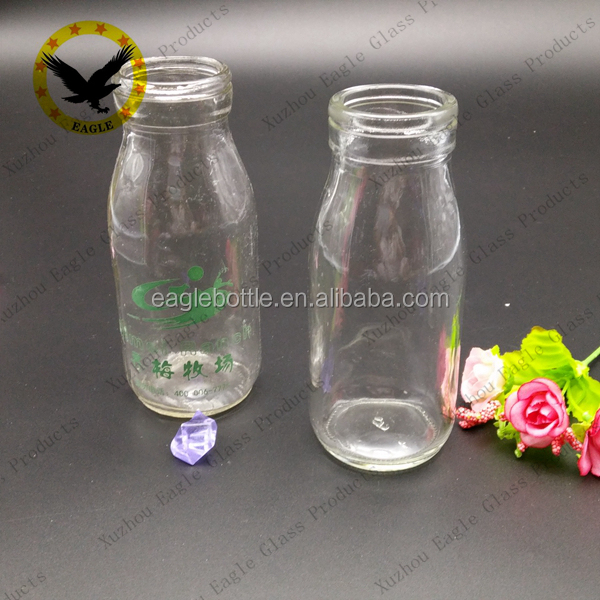 200ml empty Round Clear Milk Bottle Glass with Twist off metal lids