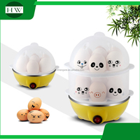 customer customized logo double deck plastic 14 eggs multi function mini electric egg boiler cooker poacher cooking machine