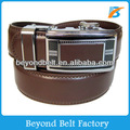 Beyond 35mm Men's Brown Solid Genuine Leather Ratchet Dress Belt with Slide Buckle