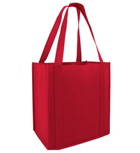 reusable Grocery Shopping Bags with Plastic Bottom Insert Heavy Duty Non Woven Promotional Tote Bags