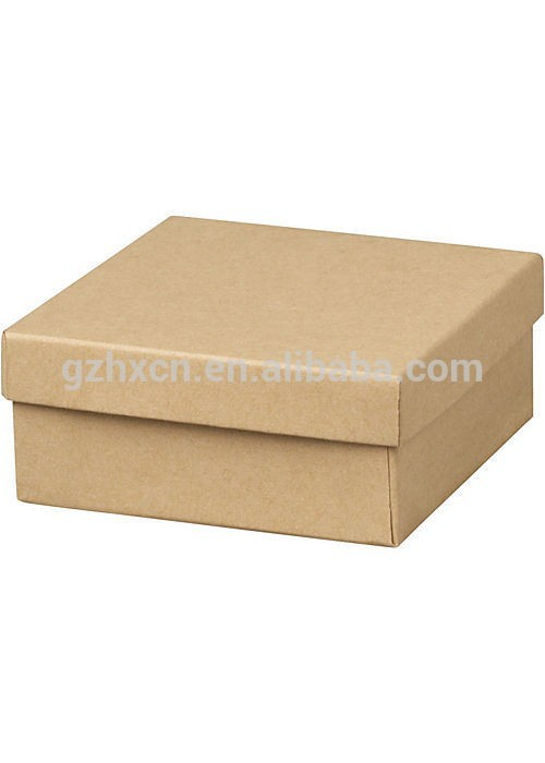 kraft color cotton linen paper foam filled 2 pieces setup cardboard jewelry gift boxes