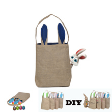 2018 Easter Decoration Jute Tote bag Bunny Burlap Bags Wholesale