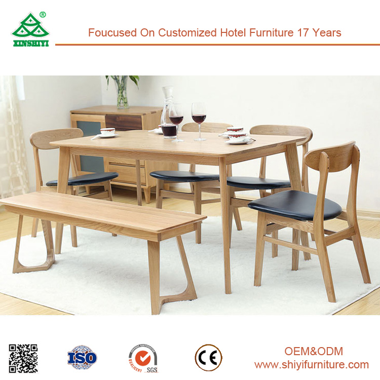 Sturdy Wood Frame Luxury Oak Dining Table Chair Set