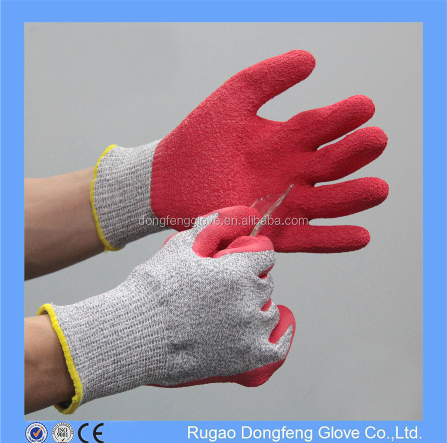 Red Palm Coated Latex Cut Resistant Gloves HPPE Glass Handling Gloves for Hand Protector
