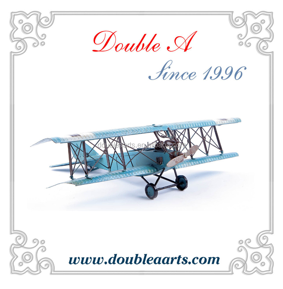 Wholesale antique metal plane model home decor iron arts collection handmade metal crafts for home decor