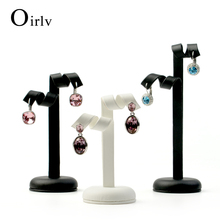 Oirlv Custom Logo Special Design Earrings Tree Black White Shop Showcase PU Leather Earring Display Stand