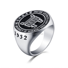 Custom design graduate ring high school university fashion stainless steel shang ring