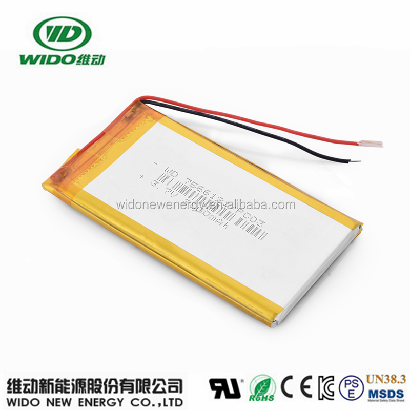 5v lithium polymer battery cell 8000mah 7566121 3.7 battery factory