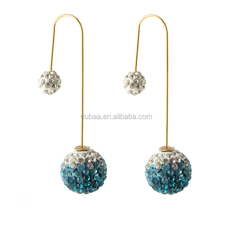 Double Ball Double Sided Front Back U Cup Pierced Earrings