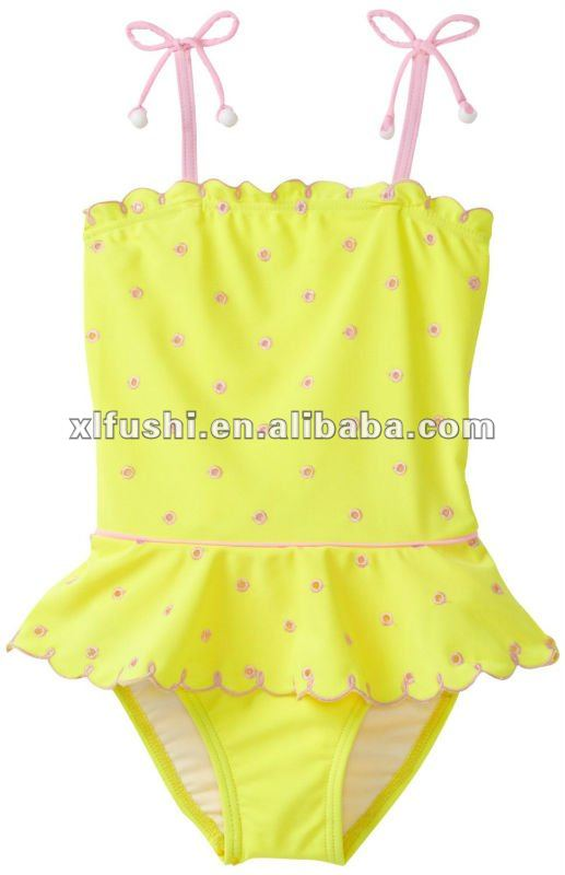 New 2-6X Lemon Squeeze Skirted Girls One Piece Swimwear